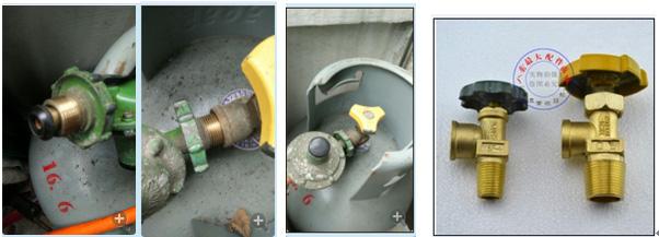 液化石油气钢瓶角阀和减压阀存在安全隐患图片